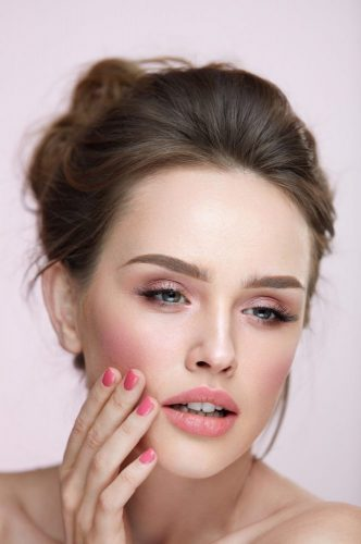 Beauty Makeup. Closeup Female With Natural Makeup And Pink Nails